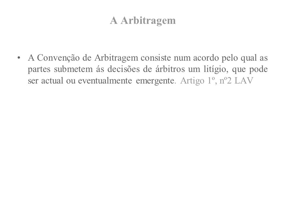 A Arbitragem