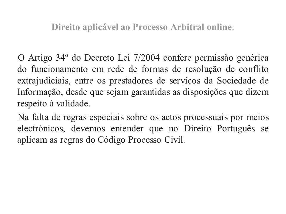 Direito aplicável ao Processo Arbitral online: