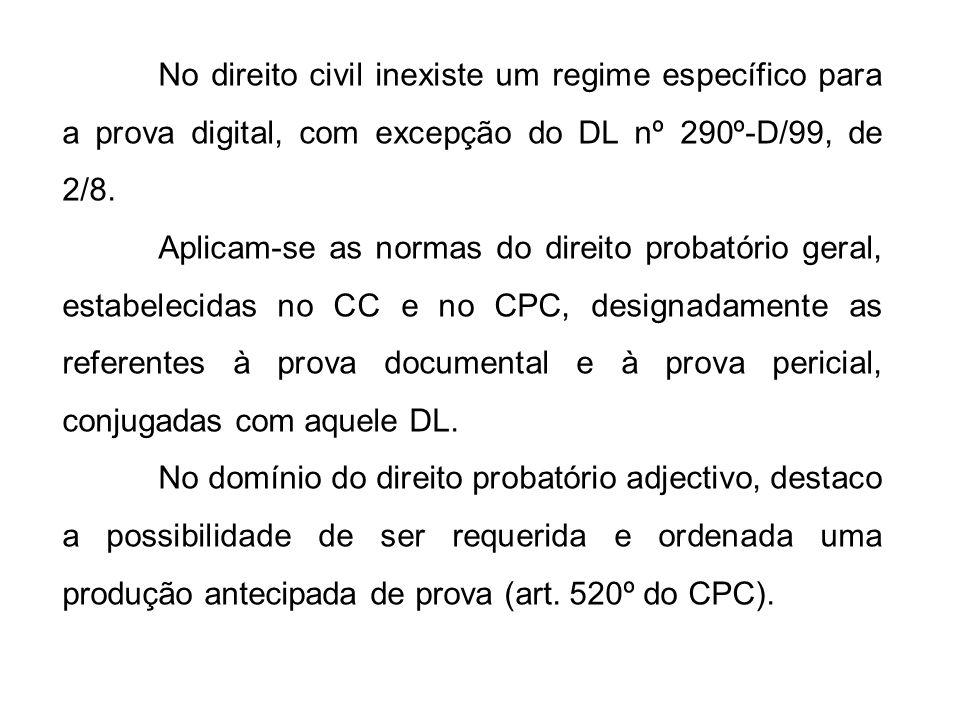 No direito civil inexiste um regime específico para a prova digital, com excepção do DL nº 290º-D/99, de 2/8.