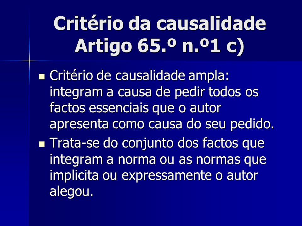 Critério da causalidade Artigo 65.º n.º1 c)