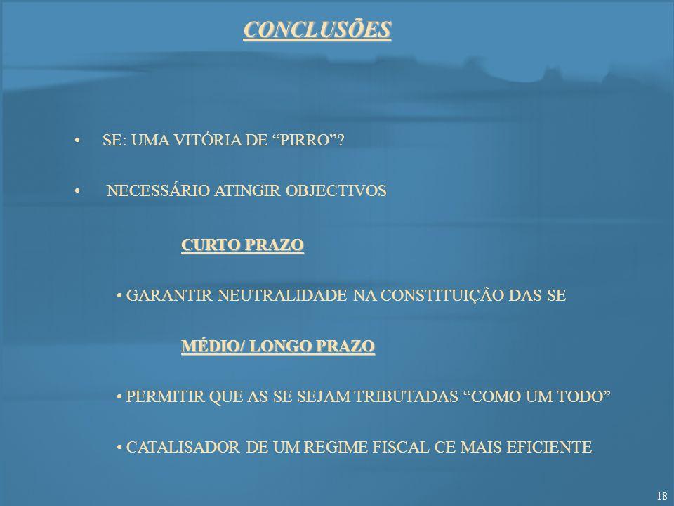 CONCLUSÕES SE: UMA VITÓRIA DE PIRRO NECESSÁRIO ATINGIR OBJECTIVOS