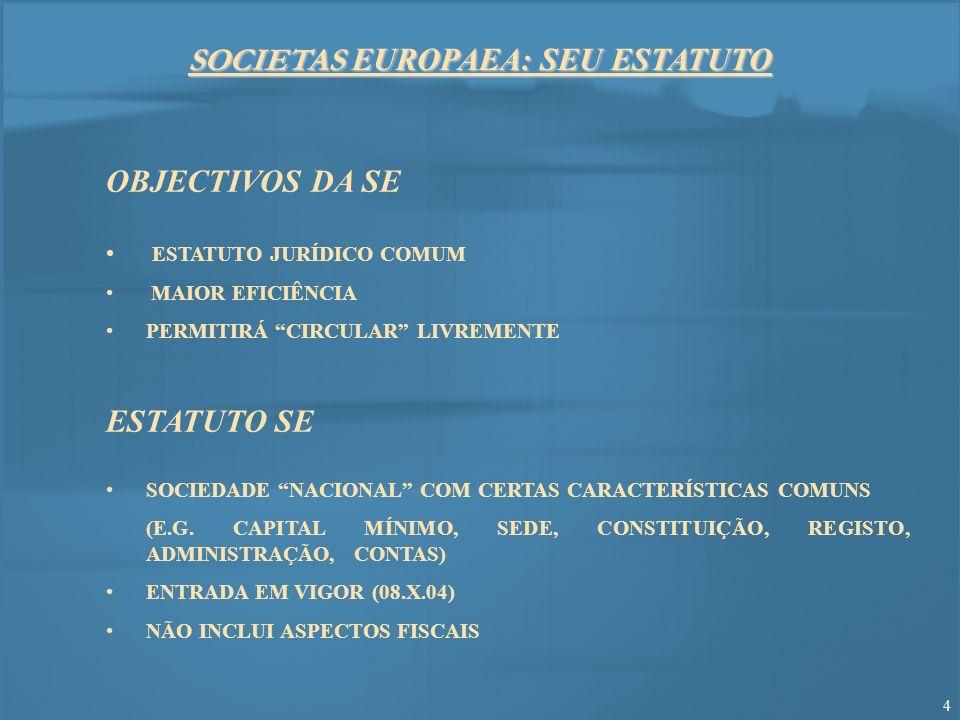 SOCIETAS EUROPAEA: SEU ESTATUTO