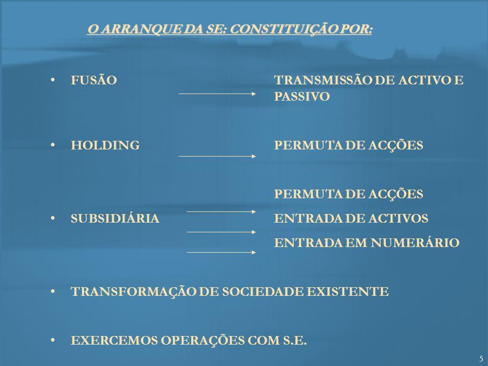 O ARRANQUE DA SE: CONSTITUIÇÃO POR: