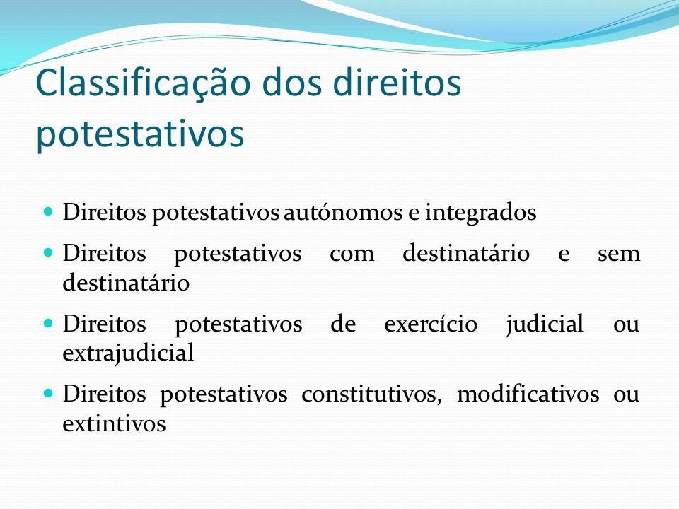 Classificação dos direitos potestativos