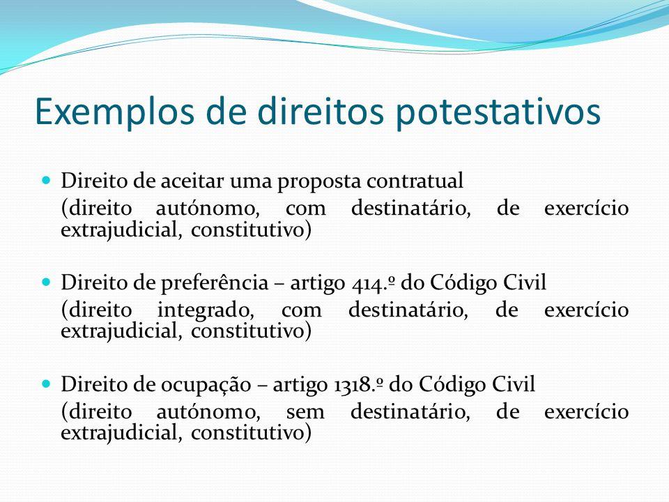Exemplos de direitos potestativos