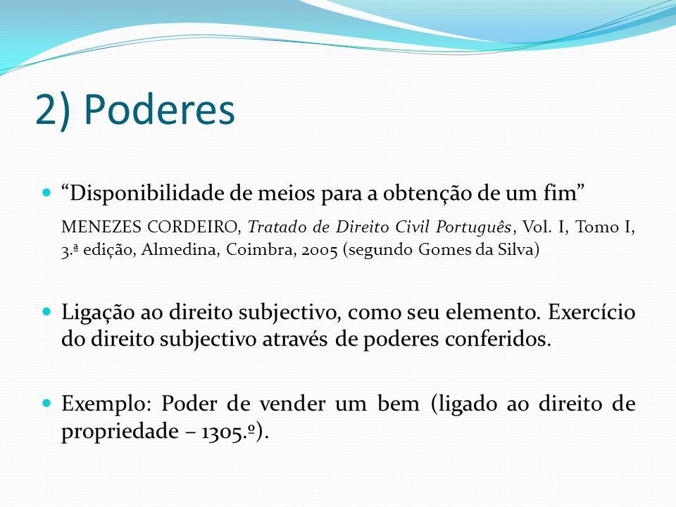 2) Poderes Disponibilidade de meios para a obtenção de um fim