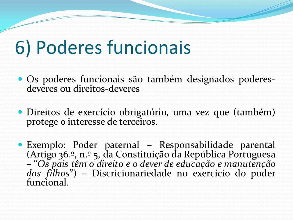 6) Poderes funcionais Os poderes funcionais são também designados poderes-deveres ou direitos-deveres.