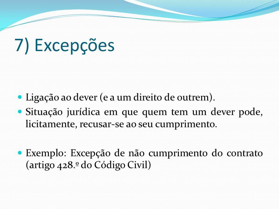 7) Excepções Ligação ao dever (e a um direito de outrem).
