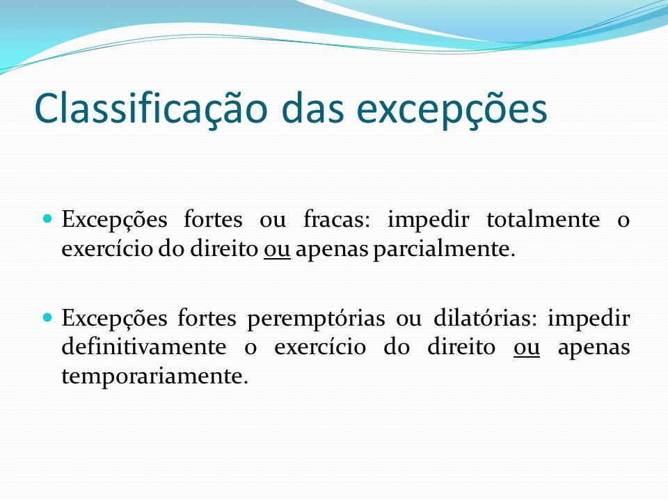 Classificação das excepções