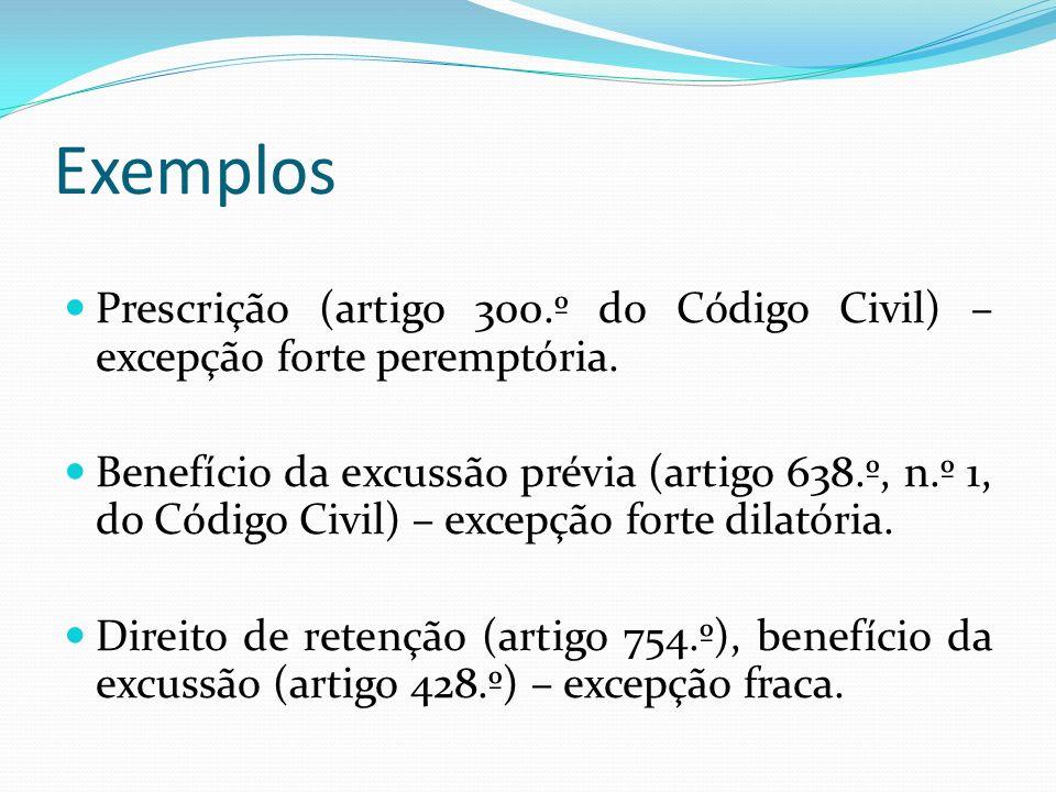 Exemplos Prescrição (artigo 300.º do Código Civil) – excepção forte peremptória.
