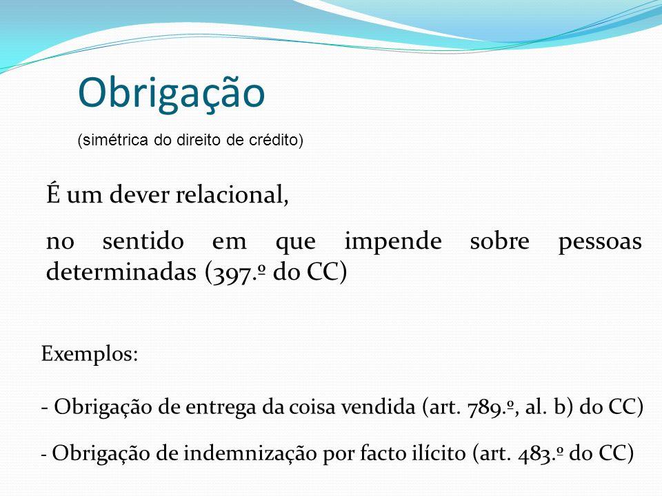 Obrigação É um dever relacional,