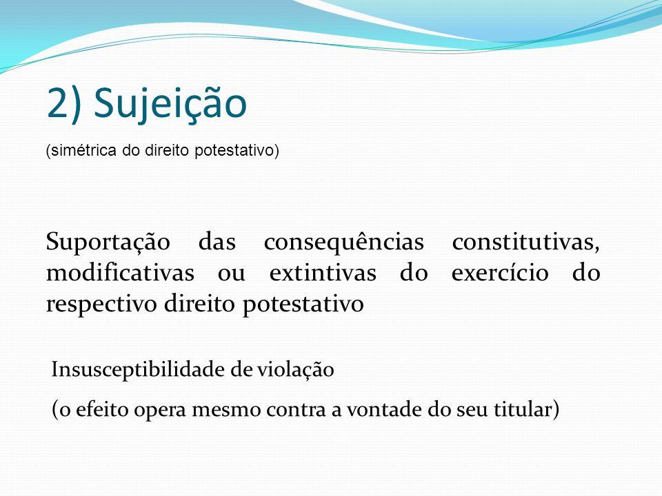 2) Sujeição (simétrica do direito potestativo)