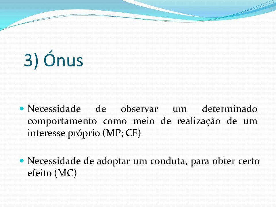 3) Ónus Necessidade de observar um determinado comportamento como meio de realização de um interesse próprio (MP; CF)