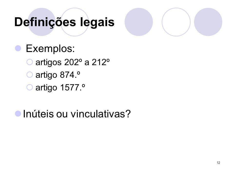 Definições legais Exemplos: Inúteis ou vinculativas