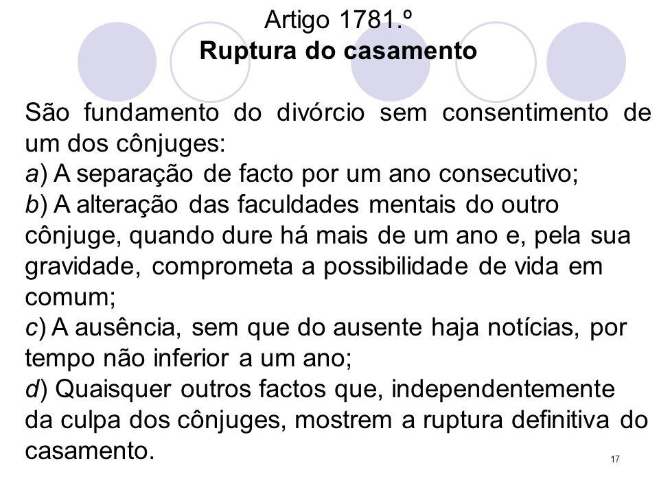 Artigo 1781.ºRuptura do casamento. São fundamento do divórcio sem consentimento de um dos cônjuges: