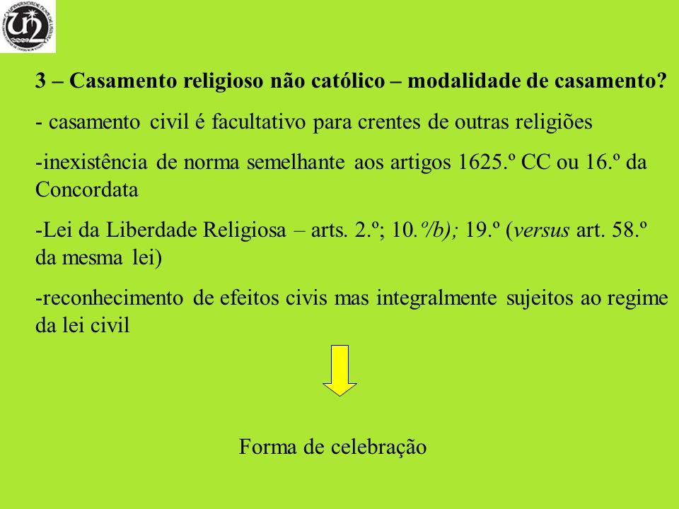 3 – Casamento religioso não católico – modalidade de casamento