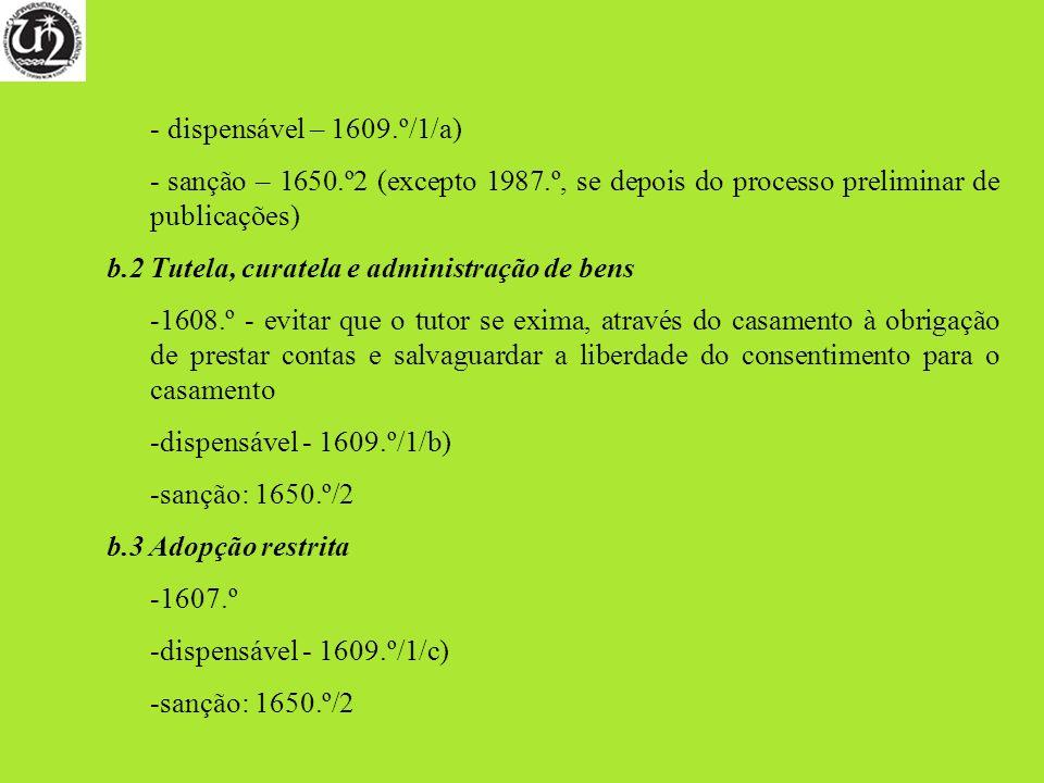 dispensável – 1609.º/1/a) sanção – 1650.º2 (excepto 1987.º, se depois do processo preliminar de publicações)