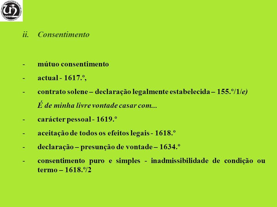 Consentimento mútuo consentimento actual - 1617.º,
