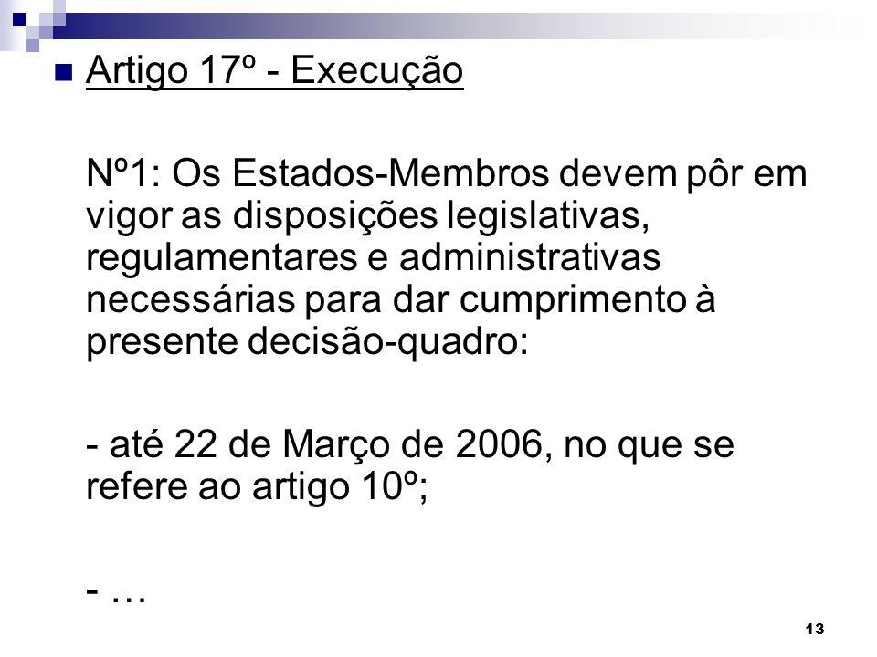 Artigo 17º - Execução