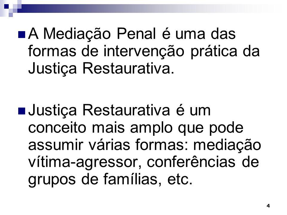 A Mediação Penal é uma das formas de intervenção prática da Justiça Restaurativa.