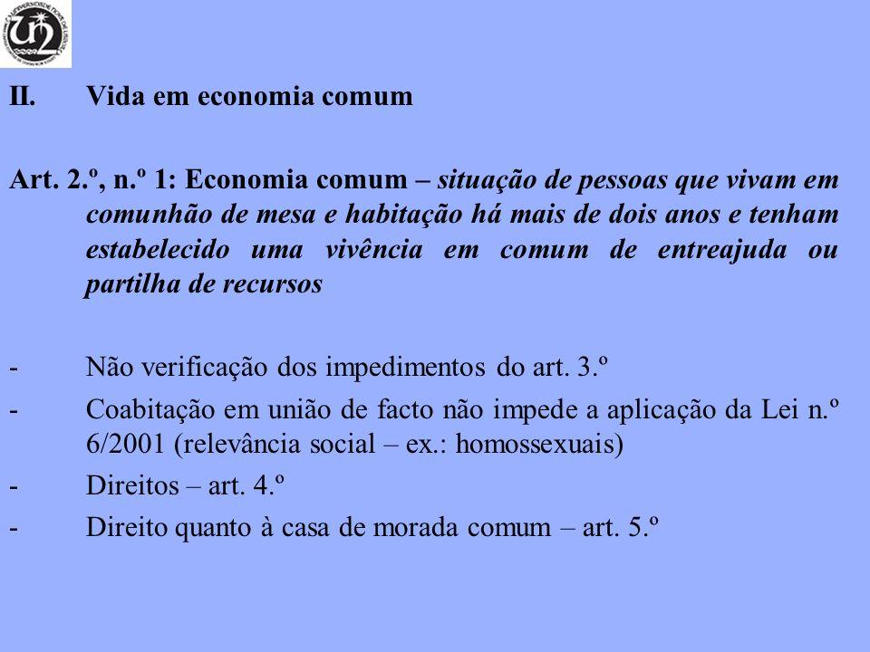 II. Vida em economia comum