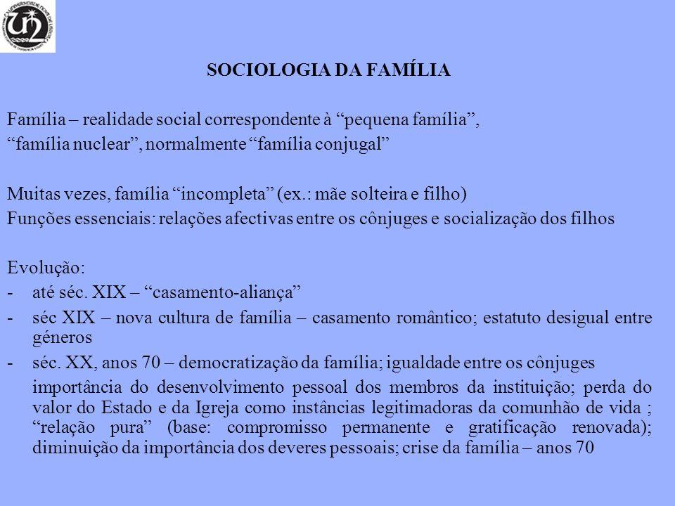 SOCIOLOGIA DA FAMÍLIA Família – realidade social correspondente à pequena família , família nuclear , normalmente família conjugal