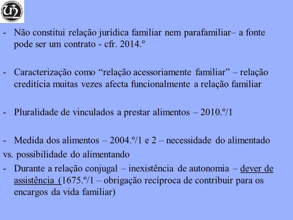 Não constitui relação jurídica familiar nem parafamiliar– a fonte pode ser um contrato - cfr. 2014.º