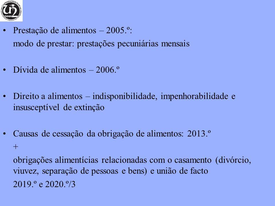 Prestação de alimentos – 2005.º: