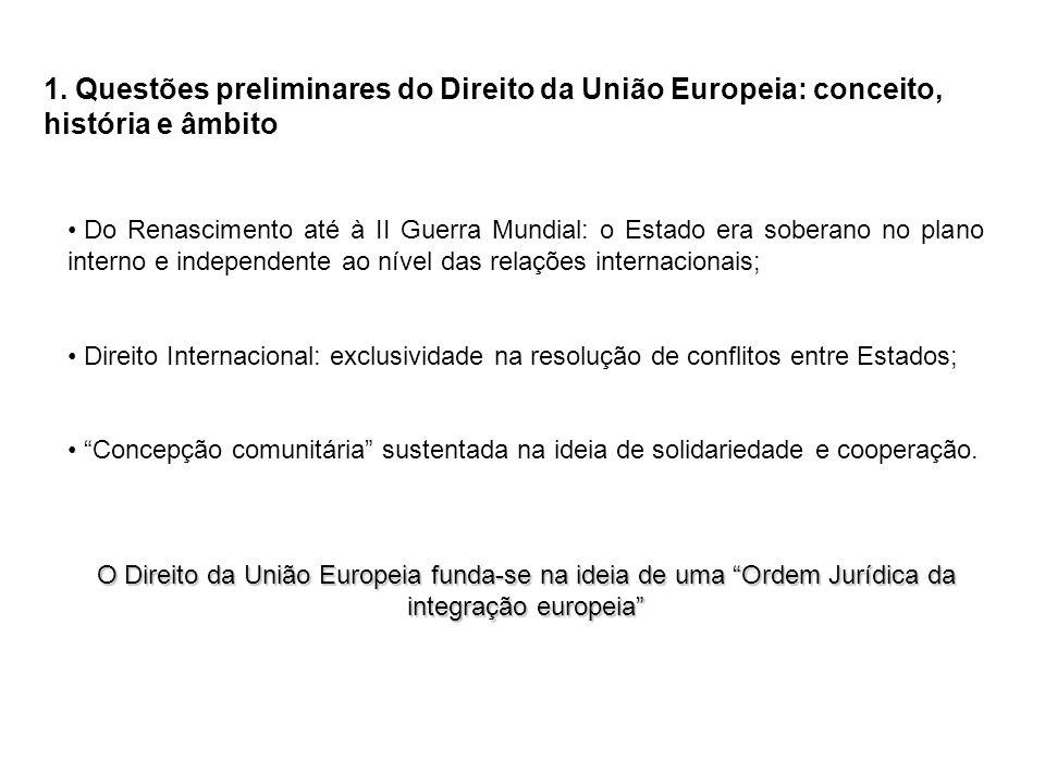 1. Questões preliminares do Direito da União Europeia: conceito, história e âmbito