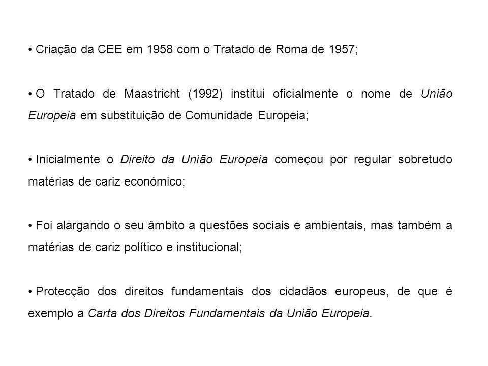 Criação da CEE em 1958 com o Tratado de Roma de 1957;