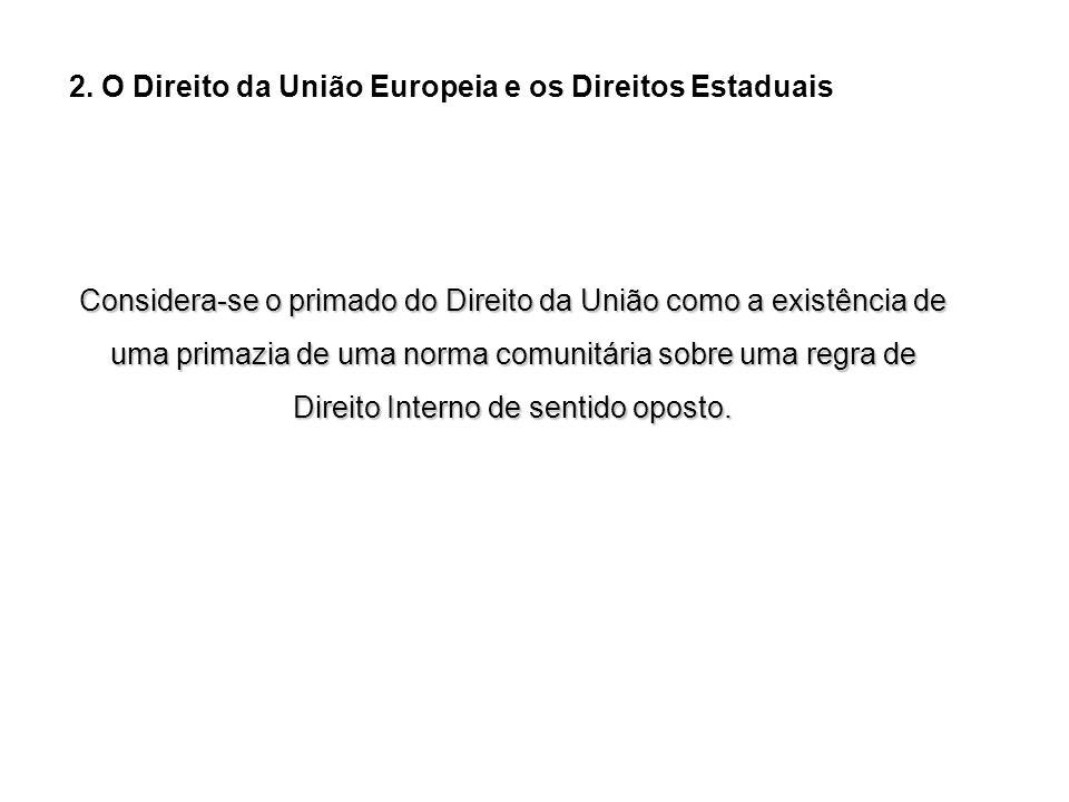 2. O Direito da União Europeia e os Direitos Estaduais