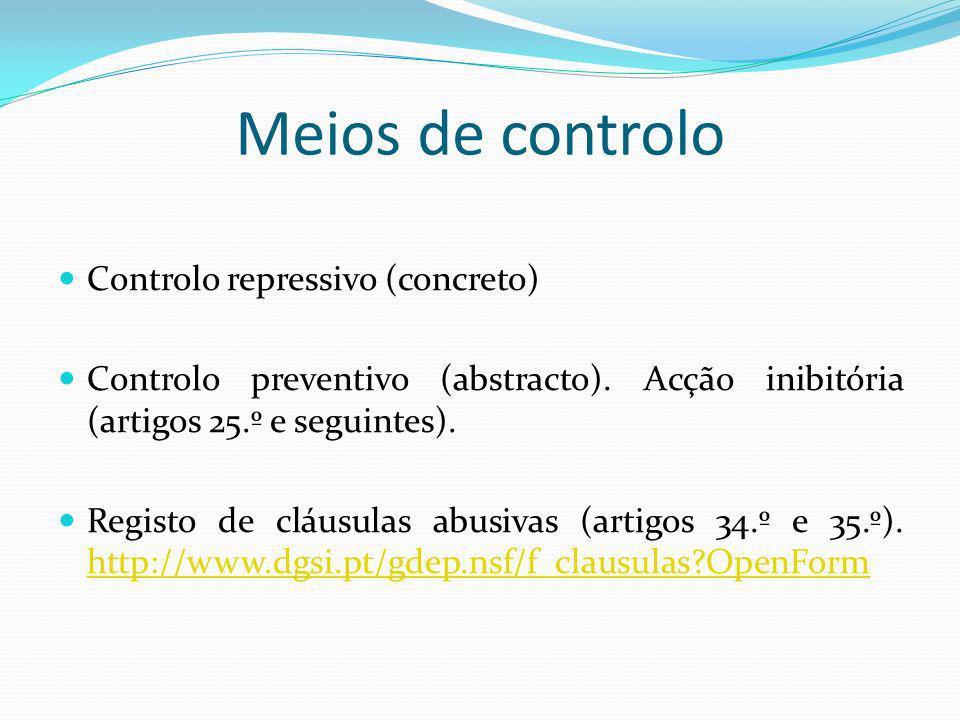 Meios de controlo Controlo repressivo (concreto)