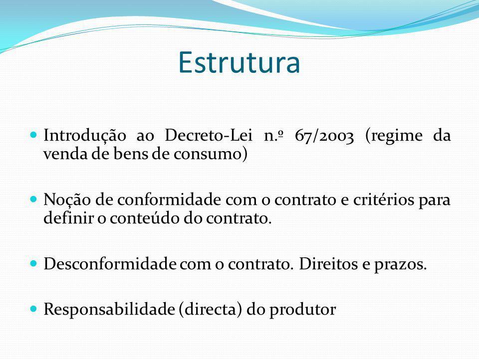 Estrutura Introdução ao Decreto-Lei n.º 67/2003 (regime da venda de bens de consumo)