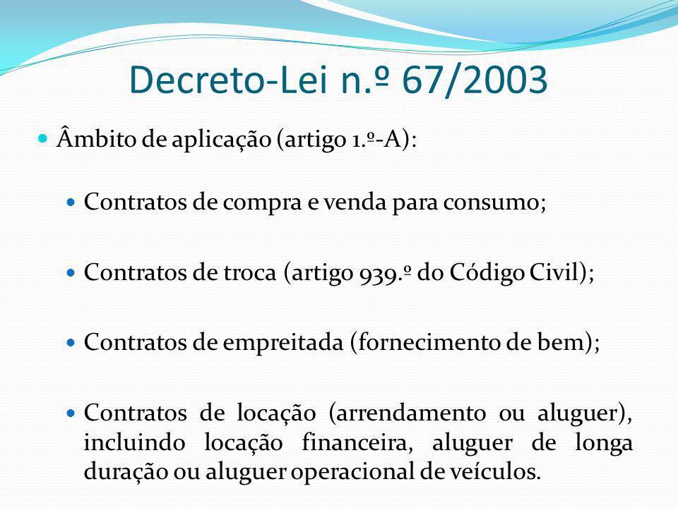 Decreto-Lei n.º 67/2003 Âmbito de aplicação (artigo 1.º-A):