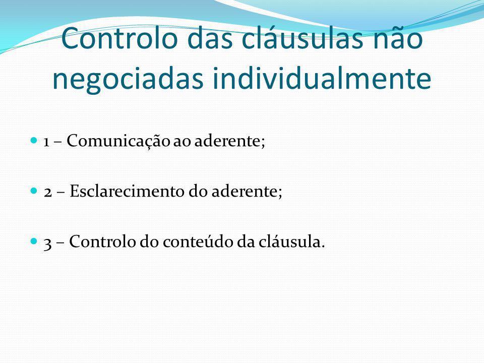 Controlo das cláusulas não negociadas individualmente