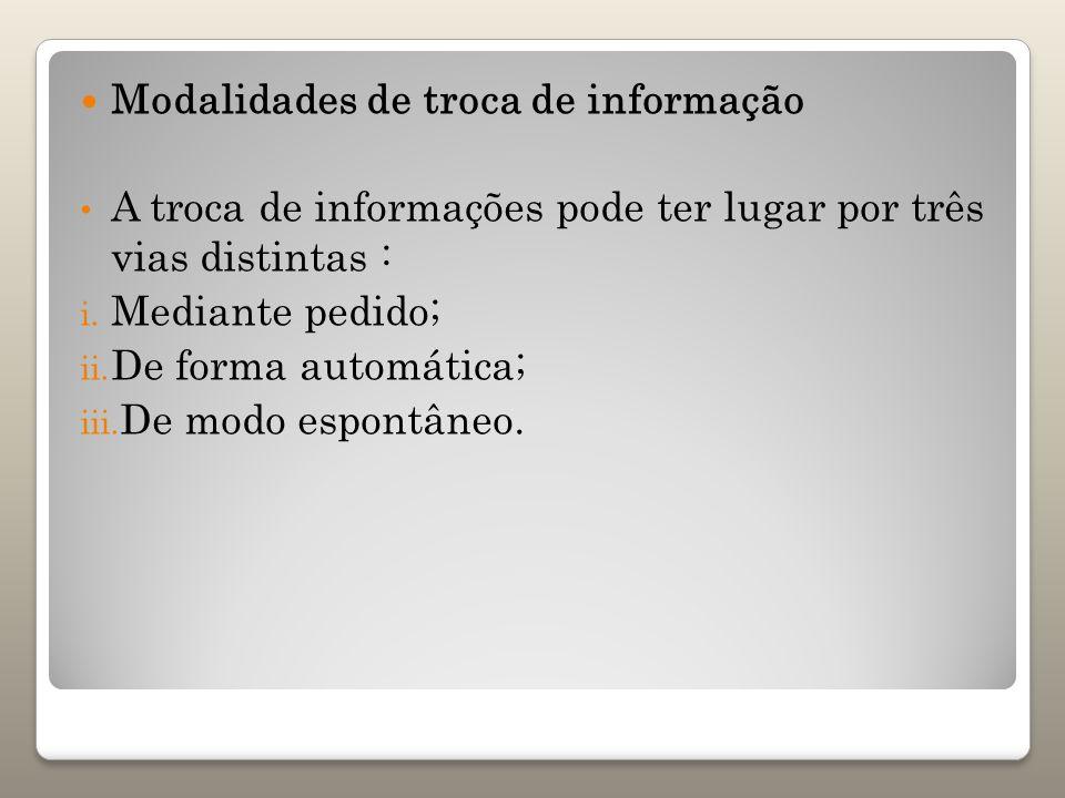 Modalidades de troca de informação