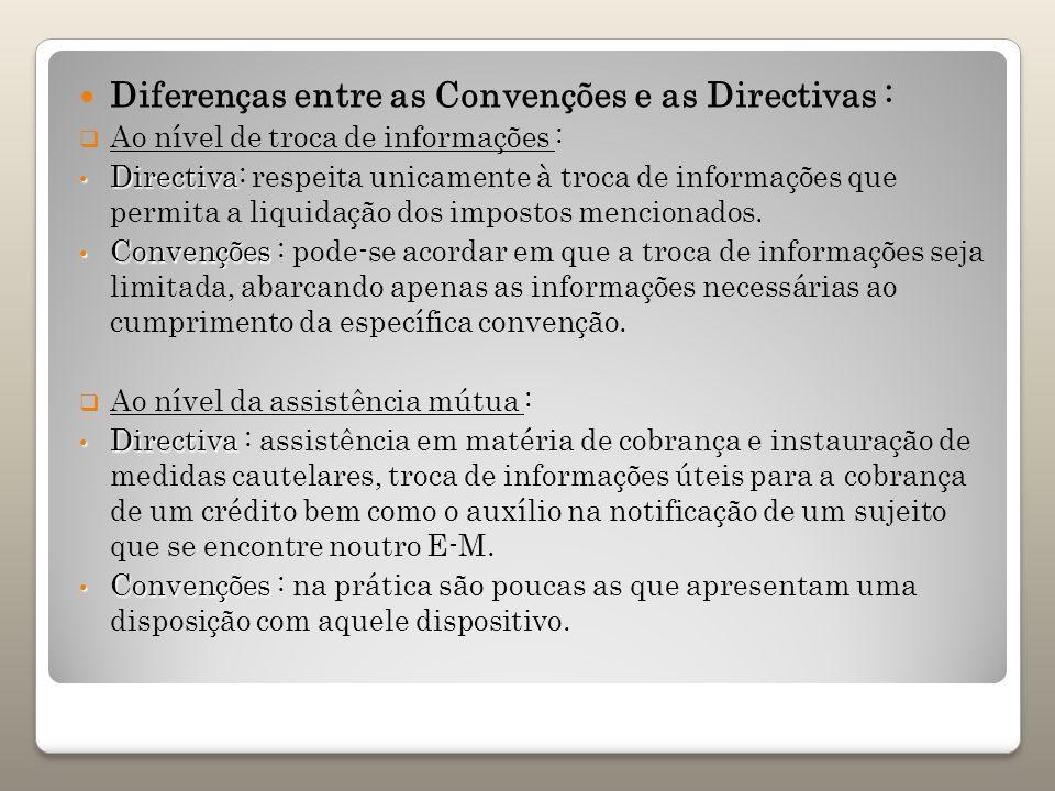 Diferenças entre as Convenções e as Directivas :