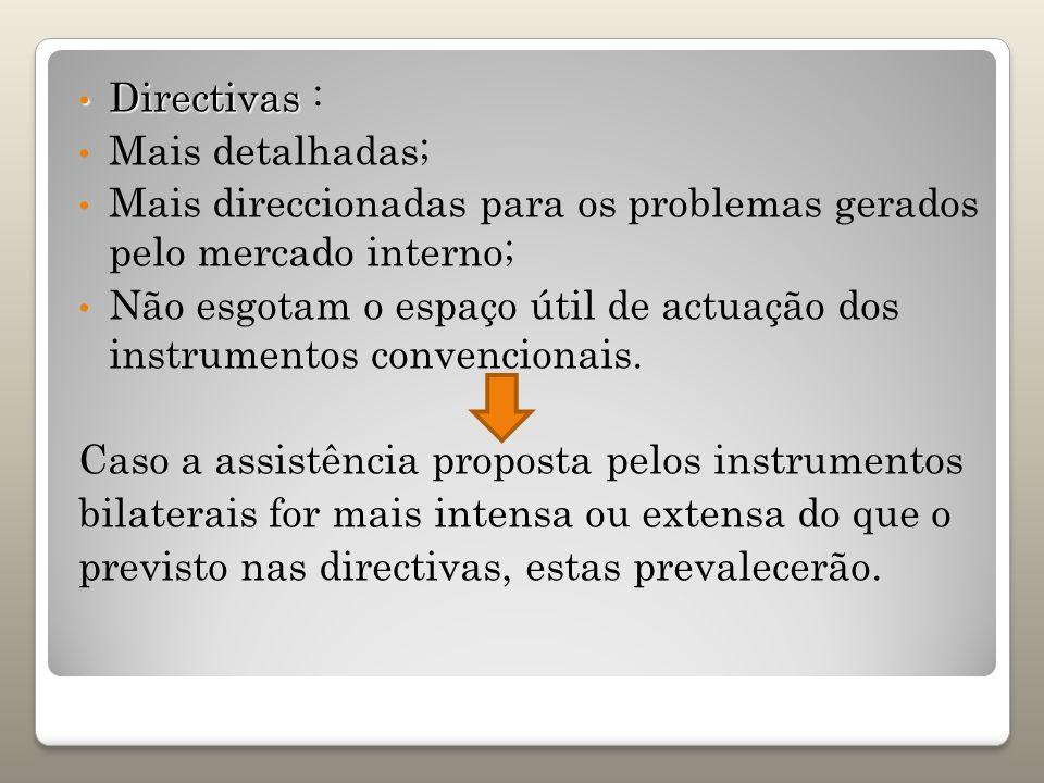 Directivas : Mais detalhadas; Mais direccionadas para os problemas gerados pelo mercado interno;