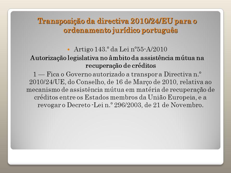 Transposição da directiva 2010/24/EU para o ordenamento jurídico português