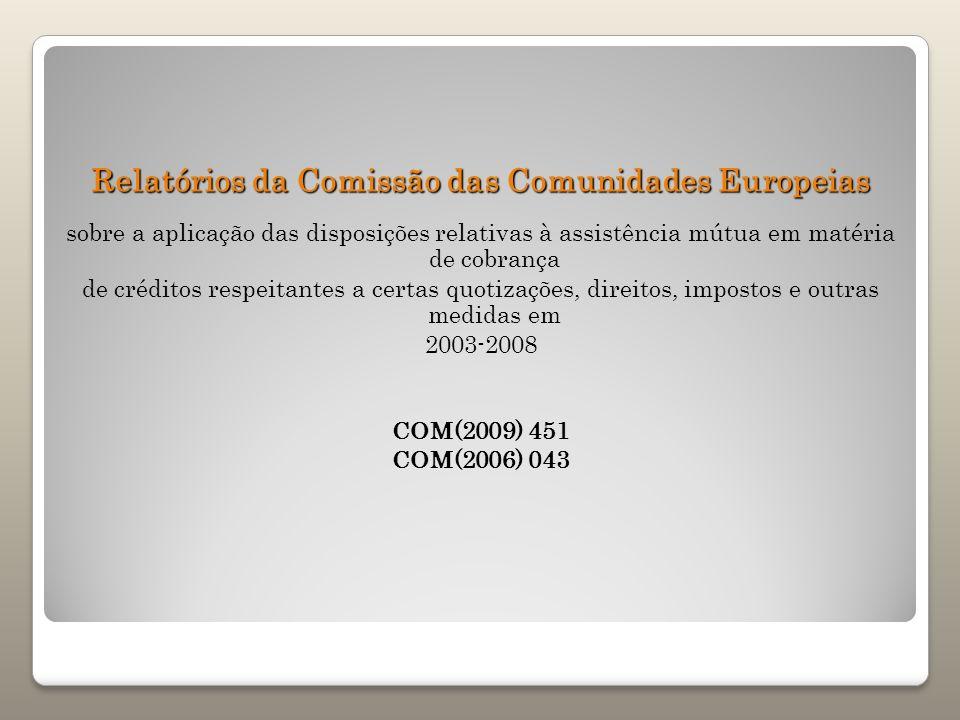 Relatórios da Comissão das Comunidades Europeias