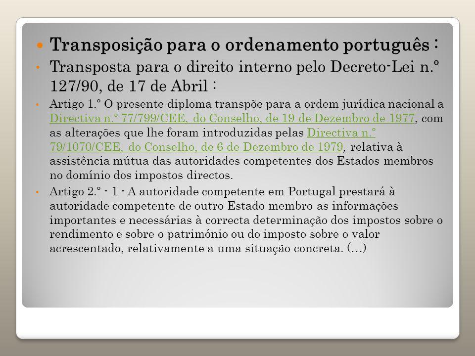 Transposição para o ordenamento português :