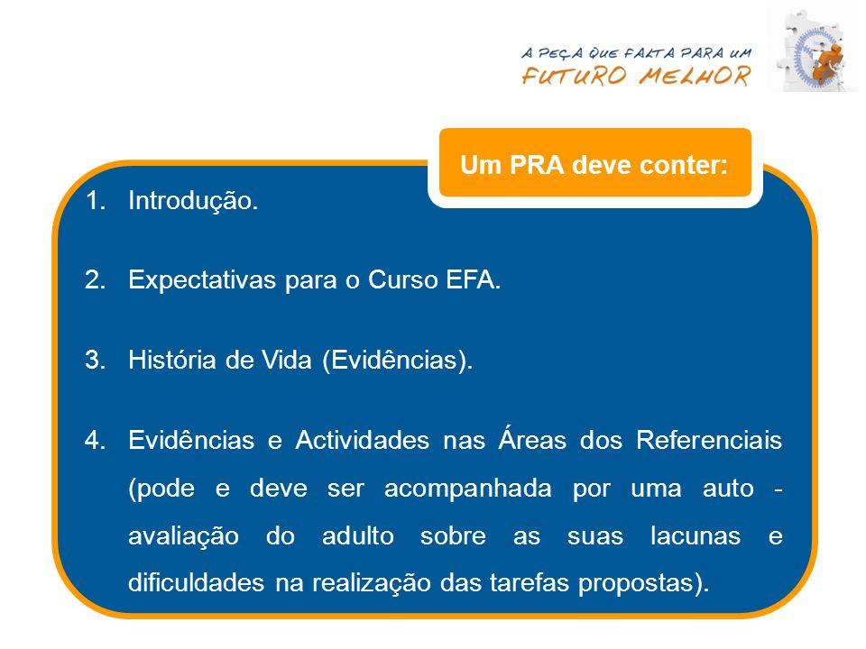 Um PRA deve conter: Introdução. Expectativas para o Curso EFA. História de Vida (Evidências).