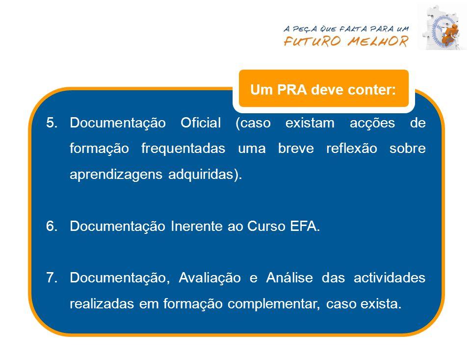 Um PRA deve conter: Documentação Oficial (caso existam acções de formação frequentadas uma breve reflexão sobre aprendizagens adquiridas).