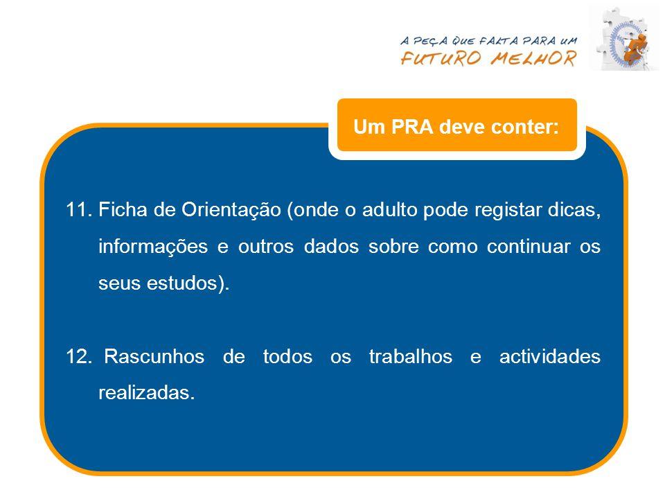 Um PRA deve conter: Ficha de Orientação (onde o adulto pode registar dicas, informações e outros dados sobre como continuar os seus estudos).
