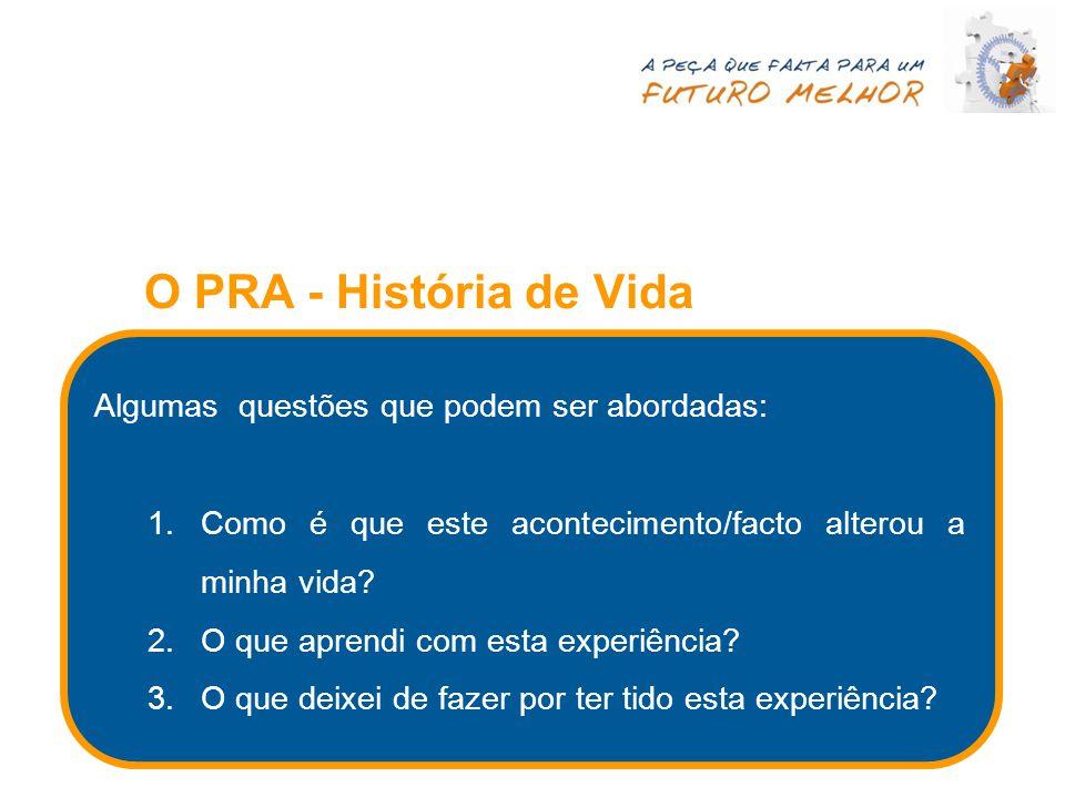 O PRA - História de Vida Algumas questões que podem ser abordadas: