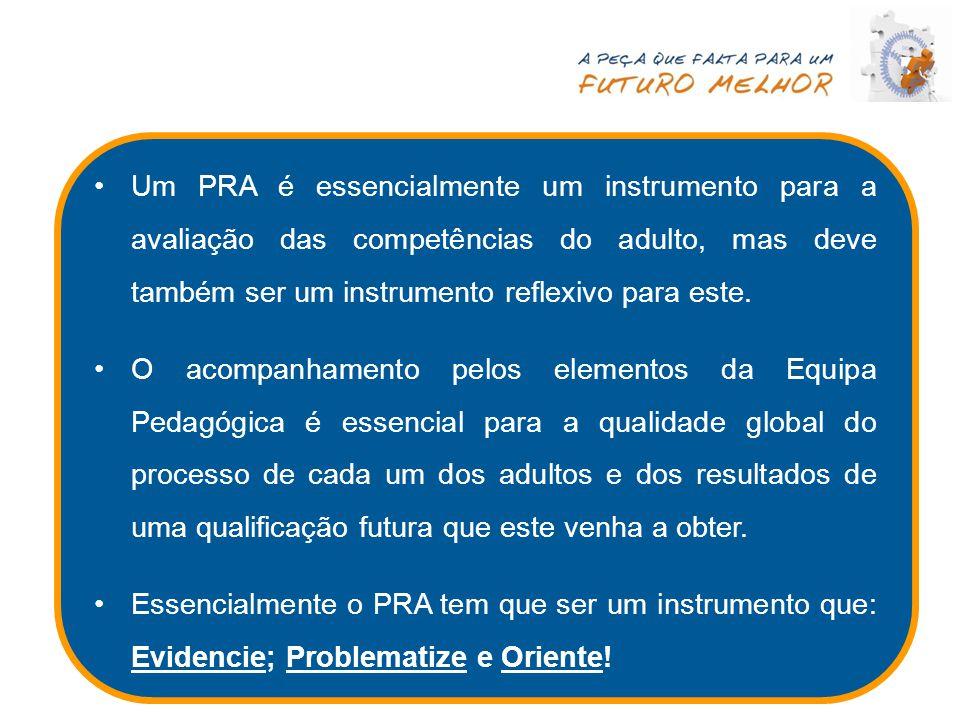 Um PRA é essencialmente um instrumento para a avaliação das competências do adulto, mas deve também ser um instrumento reflexivo para este.