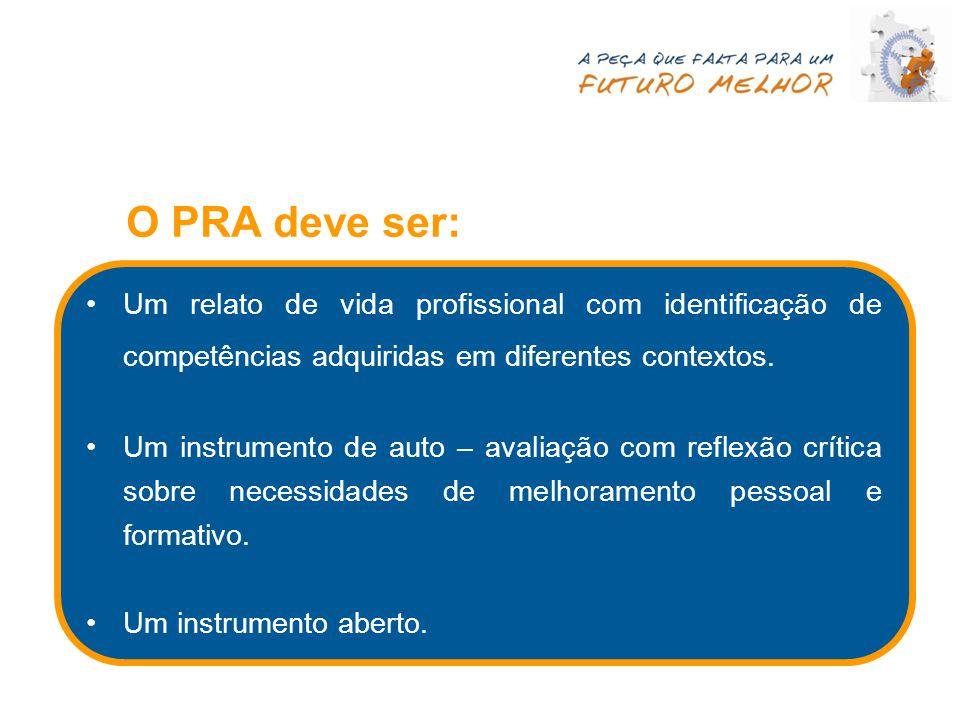 O PRA deve ser: Um relato de vida profissional com identificação de competências adquiridas em diferentes contextos.