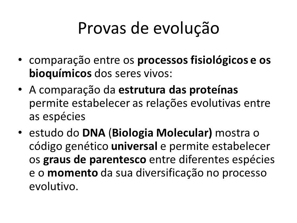 Provas de evolução comparação entre os processos fisiológicos e os bioquímicos dos seres vivos: