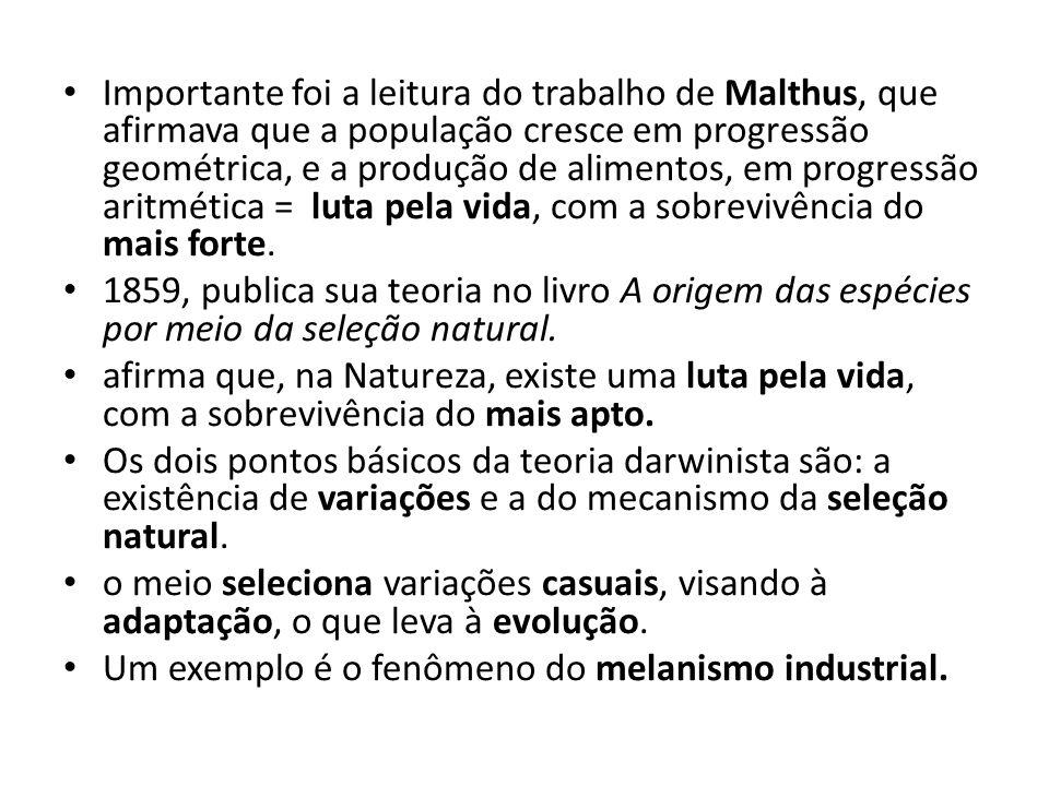 Importante foi a leitura do trabalho de Malthus, que afirmava que a população cresce em progressão geométrica, e a produção de alimentos, em progressão aritmética = luta pela vida, com a sobrevivência do mais forte.