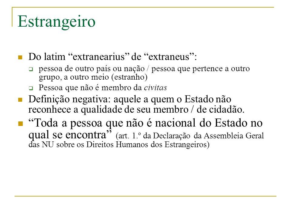 Estrangeiro Do latim extranearius de extraneus : pessoa de outro país ou nação / pessoa que pertence a outro grupo, a outro meio (estranho)